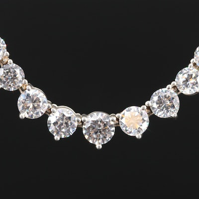 Sterling Silver Graduated Cubic Zirconia Rivieri Necklace