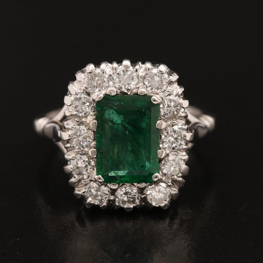 Vintage 18K 1.23 CT Emerald and Diamond Halo Ring