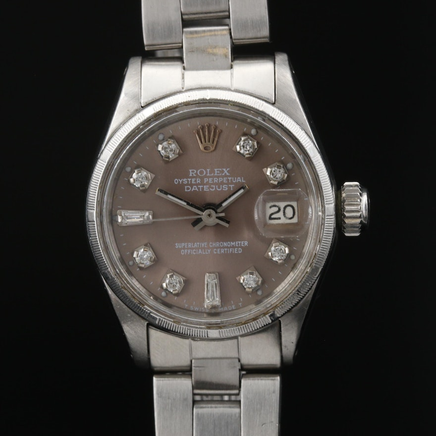 1968 Rolex Datejust Stainless Steel Diamond Wristwatch