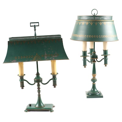 Two Hunter Green Bouillotte Lamps with Tole Metal Shades, Mid to Late 20th C
