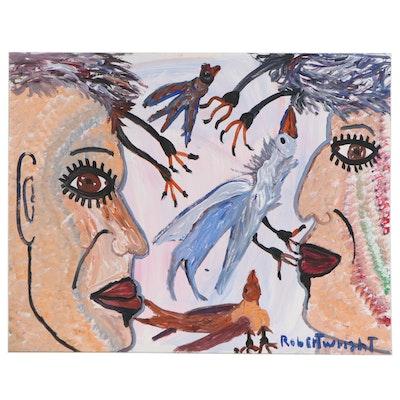 Robert Wright Folk Art Acrylic Painting of Figures and Birds