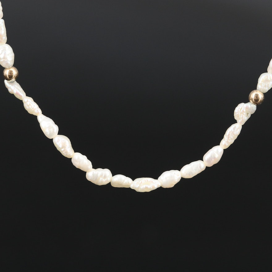 Pearl Necklace with 14K Clasp and Spacer Beads