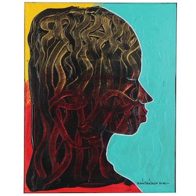 "Abiola Idowu Mixed Media Painting ""Deep Meditation,"" 2020"
