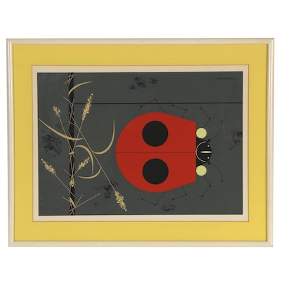 """Charley Harper Serigraph """"Dont Bug Me"""" for Ford Times Magazine"""