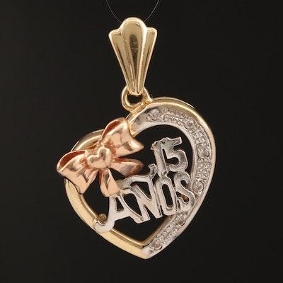 "Quinceañcra ""15 Anos"" 14K Tri-Gold Cubic Zirconia Heart Pendant"