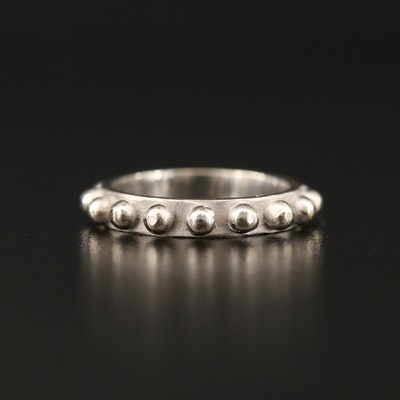 14K Gold Band with Bead Detailing