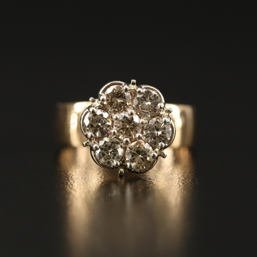14K 1.01 CTW Diamond Cluster Ring