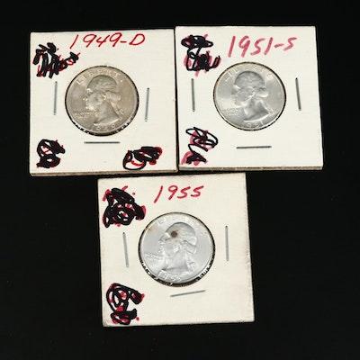 Three Uncirculated Washington Silver Quarters Including 1949-D
