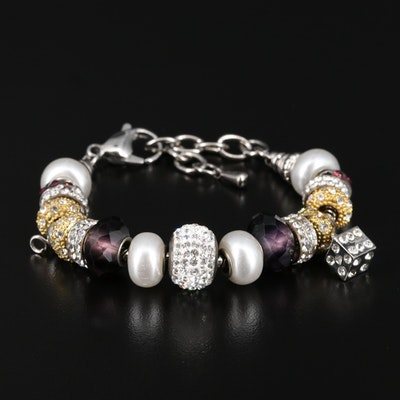 Rhinestone Beaded Charm Bracelet