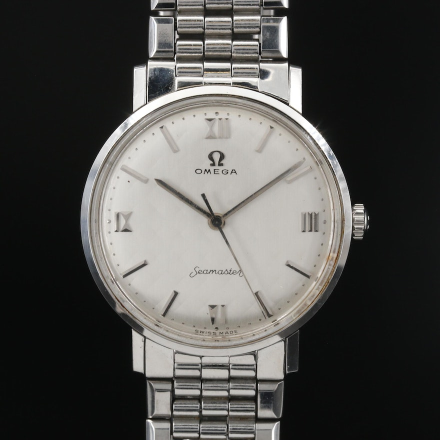 1959 Omega Seamaster Stainless Steel Stem Wind Wristwatch