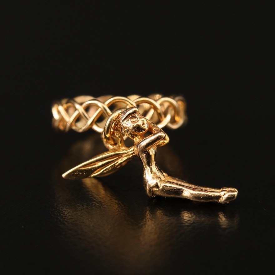14K Braided Wire Ring with Tinker Bell Charm