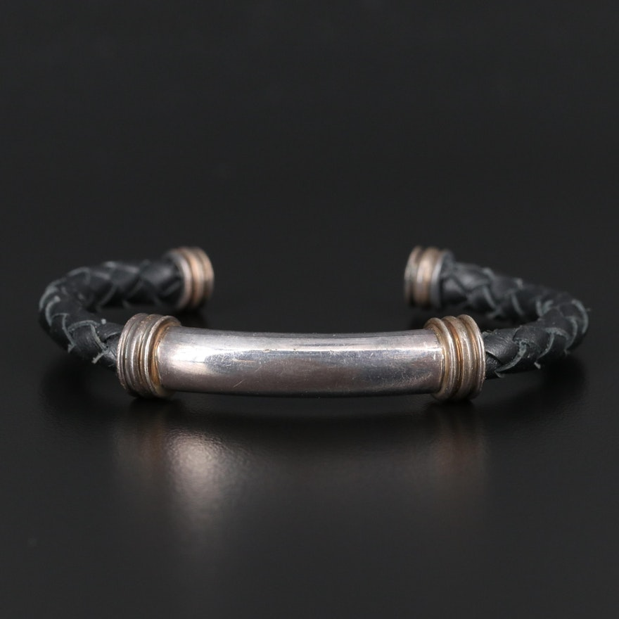 Sterling Braided Leather Cuff