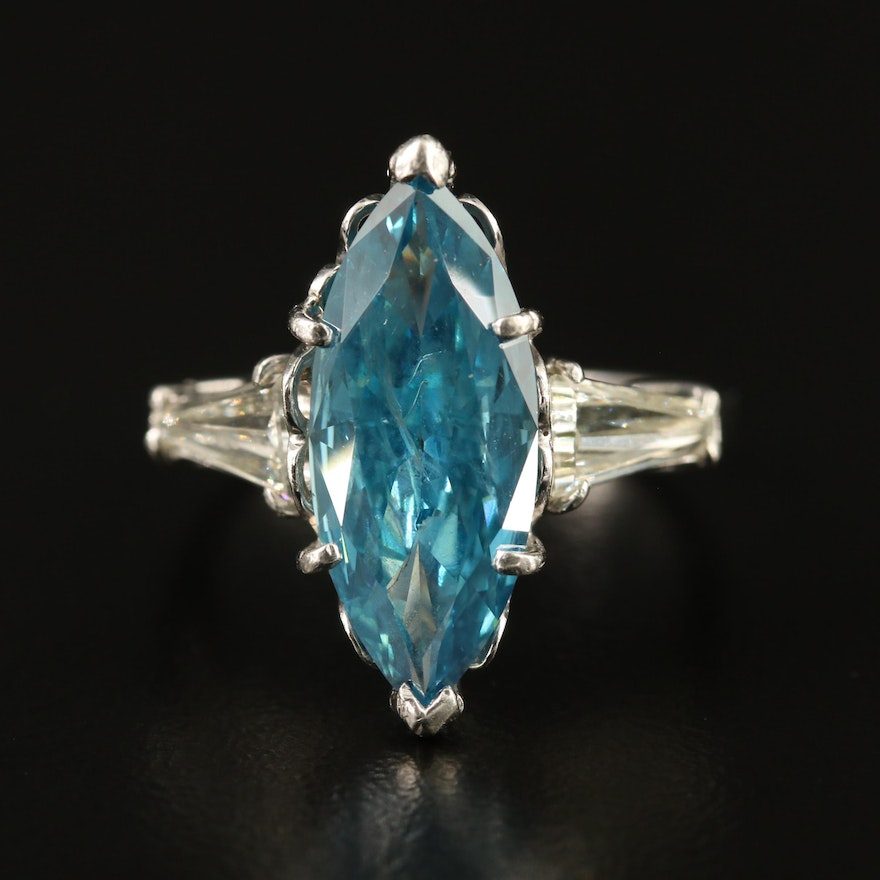 Platinum 3.60 CTW Diamond Ring with Tapered Baguette Shoulders