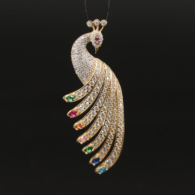 14K Peacock Pendant Featuring Ruby, Spinel and Cubic Zirconia