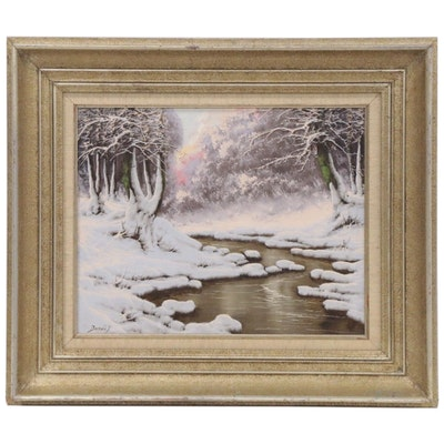 Josef L.R. Dande Winter Landscape Oil Painting, Late 20th Century