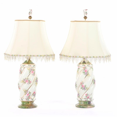 Pair of MacKenzie-Childs Floral Decorated Ceramic Table Lamps, circa 2003