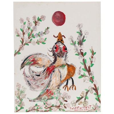Robert Wright Folk Art Acrylic Painting of a Bird, 2003