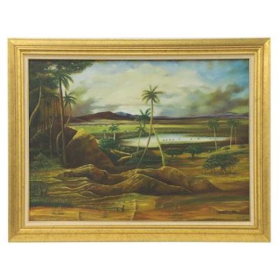 Eduardo Miguel Cuban Coastal Scene Oil Painting, 1998