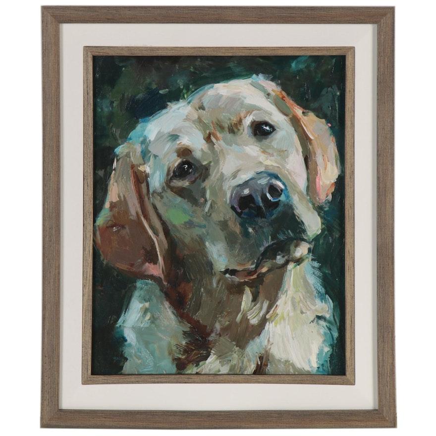 "Adam Deda Oil Painting ""White Labrador,"" 2020"