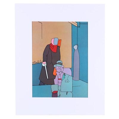 """Valerio Adami Offset Lithograph """"Attentato"""" for """"Derrière le Miroir,"""" 1973"""