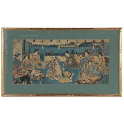 "Utagawa Kunisada Woodblock Triptych ""Ladies Watching Children Dance"""