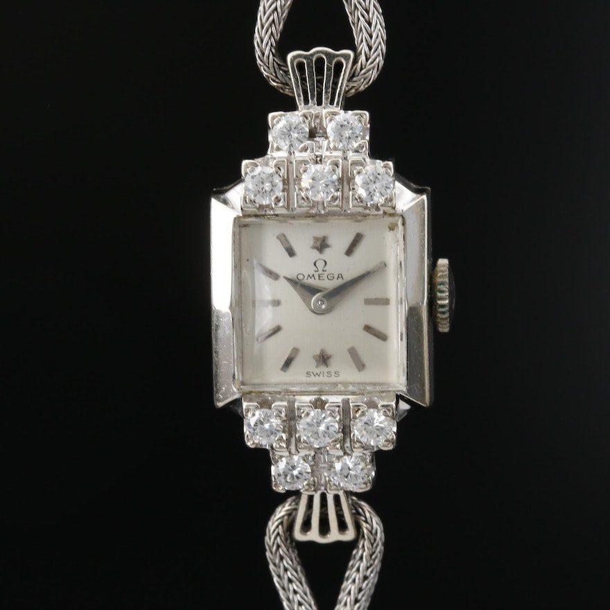 Circa 1952 Omega 14K White Gold Diamond Wristwatch