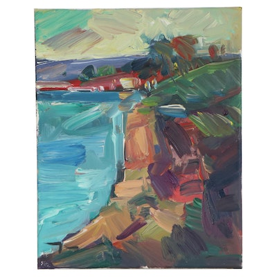 "Jose Trujillo Oil Painting ""Cliff Light,"" 2018"