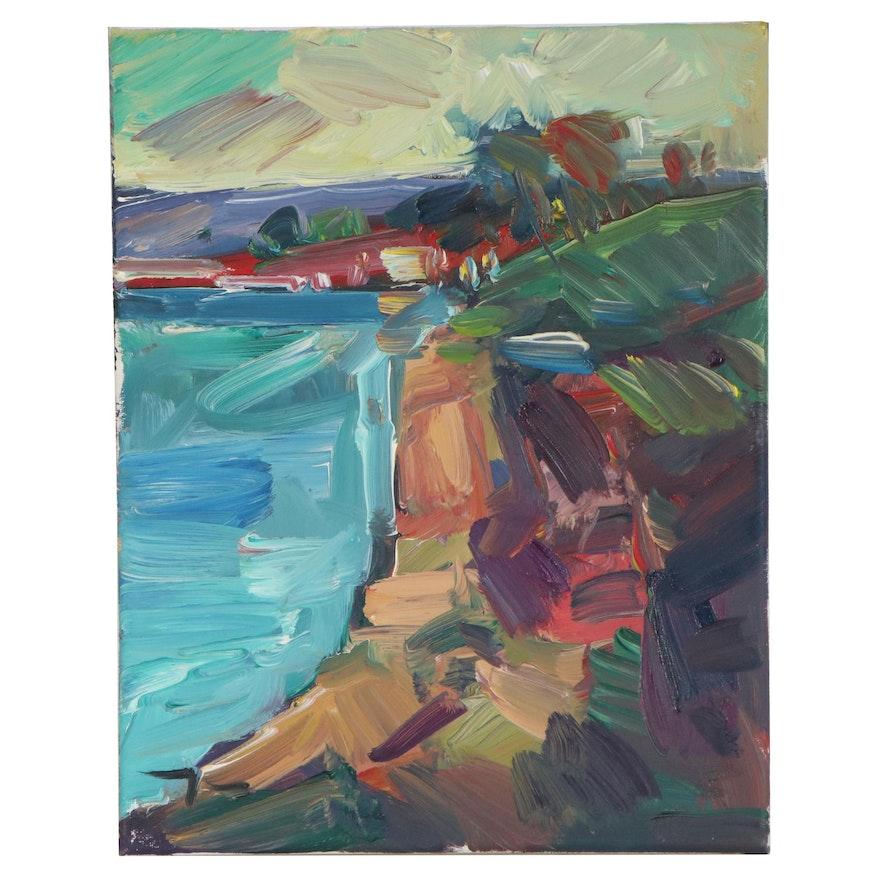 "Jose Trujillo Oil Painting ""Cliff Light,"" 2018"