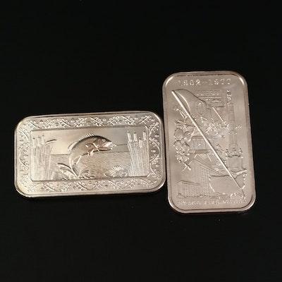 Two 1 Troy Ounce .999 Fine Silver Commemorative Ingots