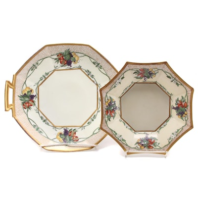 Caroline Seats Hand-Painted Porcelain Plates, Early 20th Century