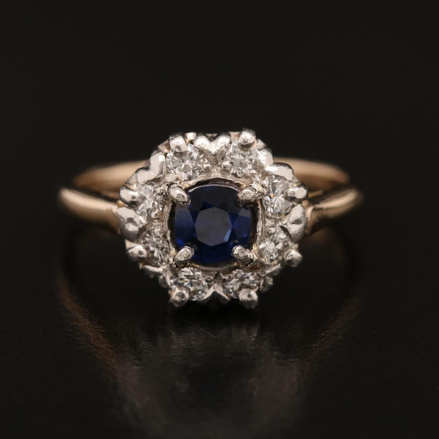 14K Sapphire and Diamond Ring with Platinum Top