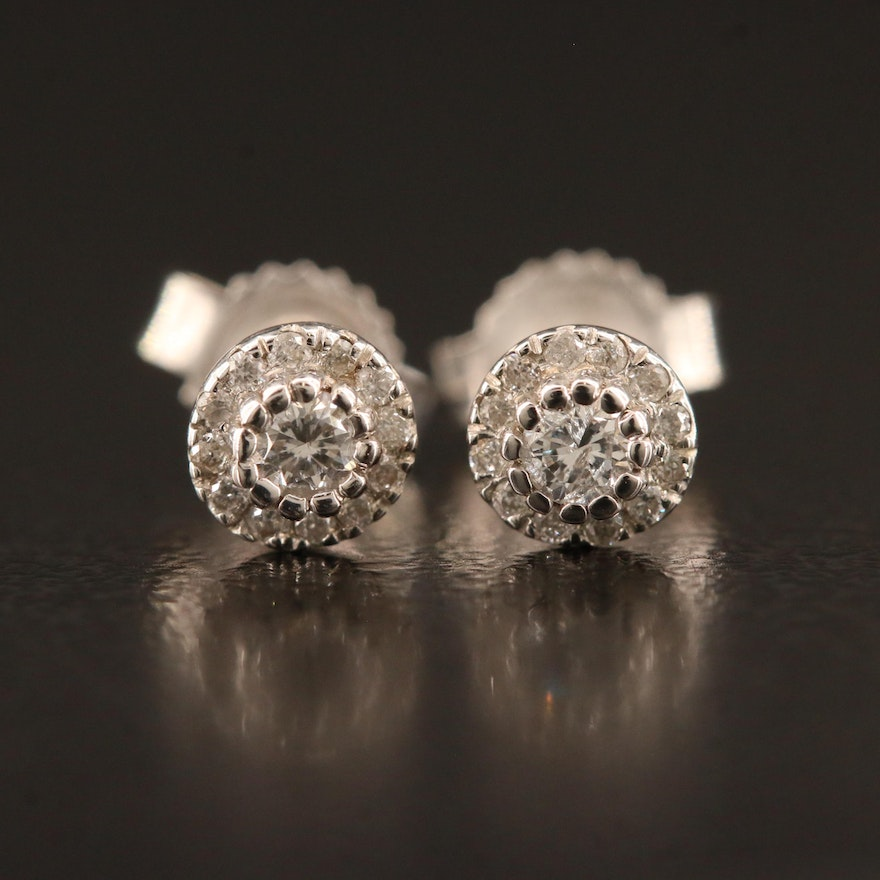 14K Diamond Halo Stud Earrings