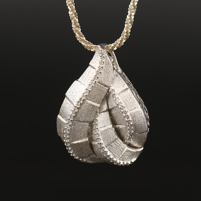 Sterling Silver Diamond Biomorphic Pendant Necklace