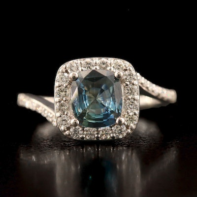 Platinum 1.44 CT Unheated Sapphire and Diamond Ring with GIA Report