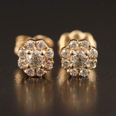 "14K 0.86 CTW Diamond Stud Earrings Featuring ""Crown of Light"" Center Diamonds"