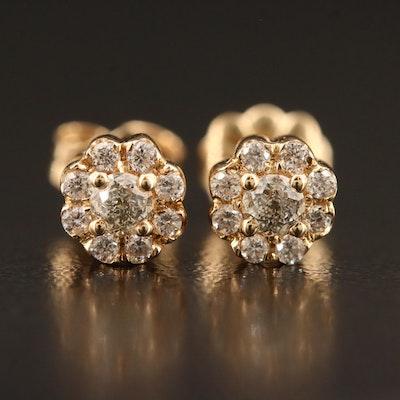 "14K 0.86 CTW Diamond Stud Earrings Featuring ""Crown of Light"" Center Diamonds"