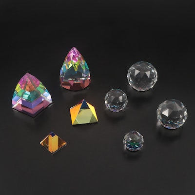 Swarovski Crystal and Other Iridescent Prism and Orb Paperweights