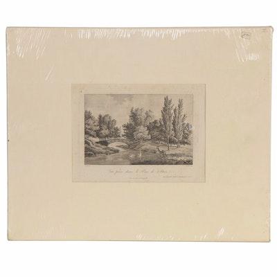 """Etching with Aquatint after Berhault """"Vue prise dans le Parc de Stain"""""""
