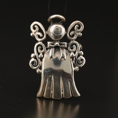 Sterling Stylized Angel Converter Brooch