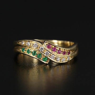 18K Ruby, Emerald and Diamond Band