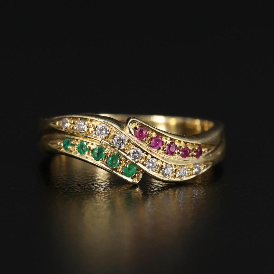 18K Ruby, Emerald and Diamond Band