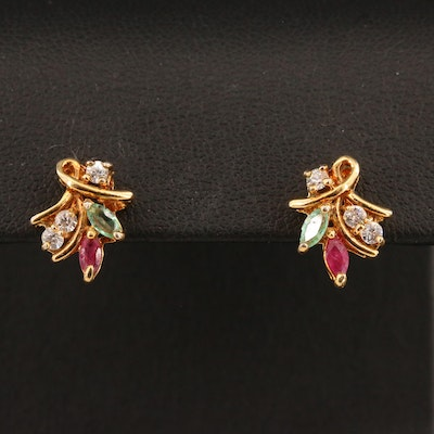 Cubic Zirconia, Emerald and Ruby Stud Earrings