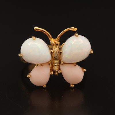 18K Opal and Coral Butterfly Ring