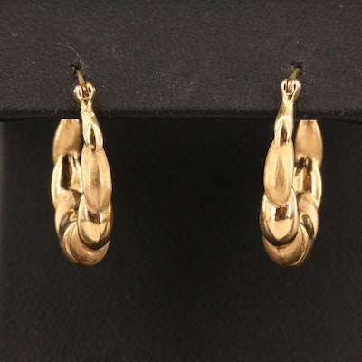 14K Shrimp Hoop Earrings