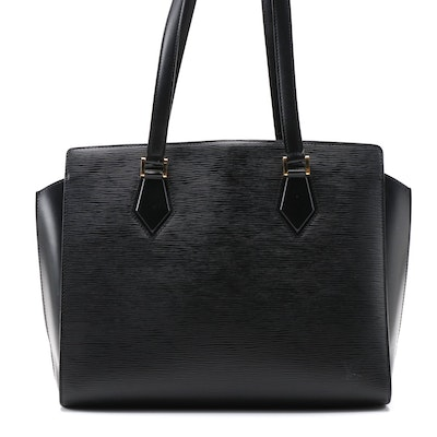 Louis Vuitton Dupleix Tote Bag in Black Epi and Smooth Leather