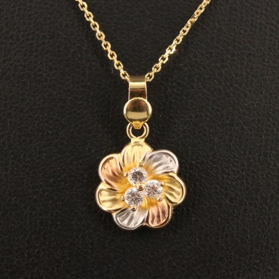 Tri-Color 14K Cubic Zirconia Floral Motif Pendant Necklace