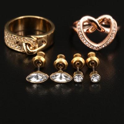 "Swarovski Crystal ""Cupidon"" Ring, Interlocking Ring and Stud Earrings"