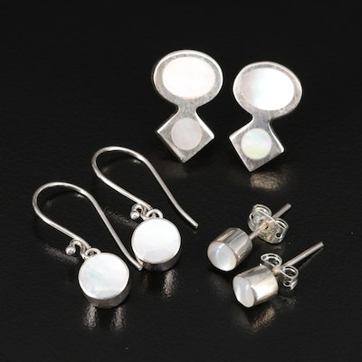 Sterling Mother of Pearl Stud and Dangle Earrings