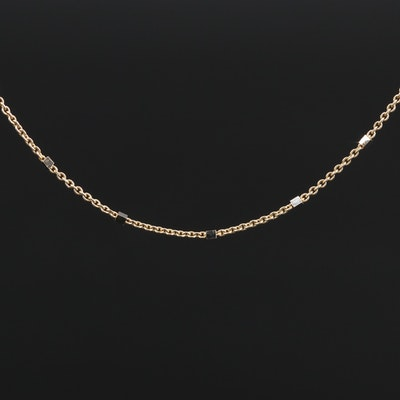 14K Cable Chain Station Necklace
