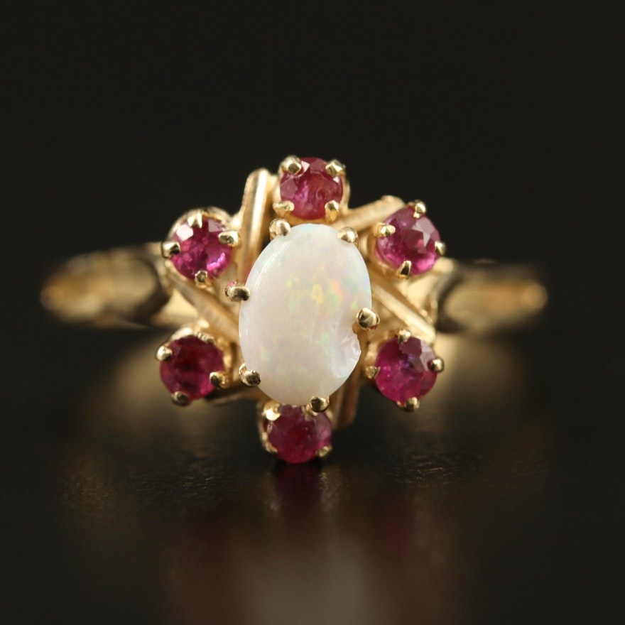 14K Opal and Ruby Ring